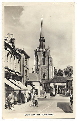 STOWMARKET Church and Corner, RP Postcard Unused 1958