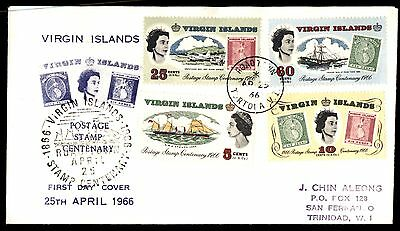 Stamps on Stamps QEII Virgin Islands 1966 First Day Cover FDC to Trinidad