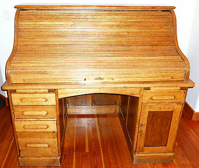 raised panel desk antique oak roll top S