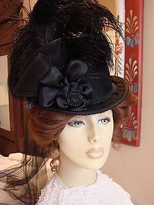 Steampunk Victorian Ladies Top Hat Black Lace Riding Millinery Equestrian Sass