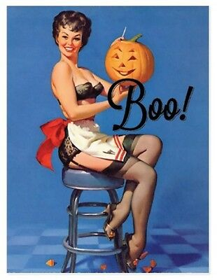 Boo! Vintage Pinup Risque Erotic Halloween REPRO Postcard R116938