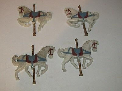 Carousel horses wall Plaques, set of 4, plastic Homco # 7606-1 & -2