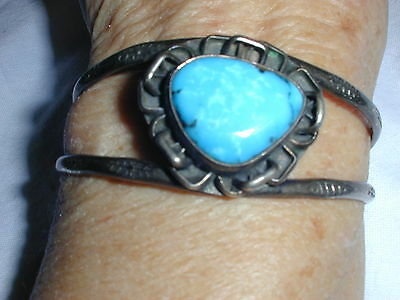 Fabulous! Old Pawn Sterling Turquoise Cuff Bracelet Signed Lk?