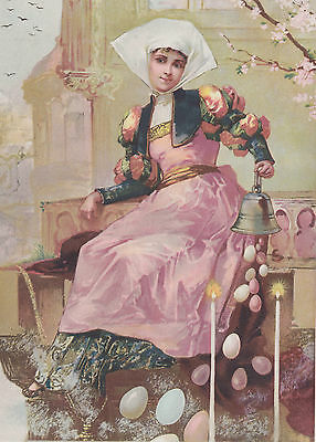Lady Delivering Easter Eggs Antique Easter Lithograph Art Print 1893