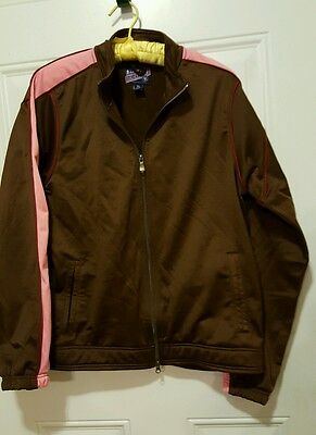 Women's Athletic Jacket, Size XL, Brown with Pink, Zipper Front