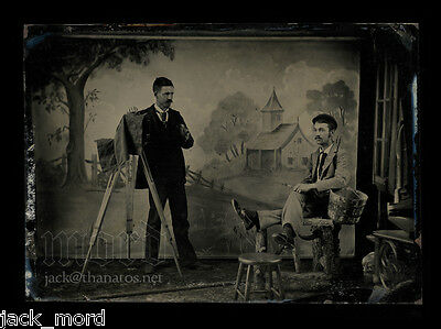 Exceptional Occupational Tintype Photo  Photographer w Camera & Backdrop Painter
