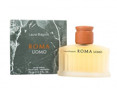 Laura Biagiotti Roma Uomo Eau De Toilette 75Ml Spray - Men's For Him. New