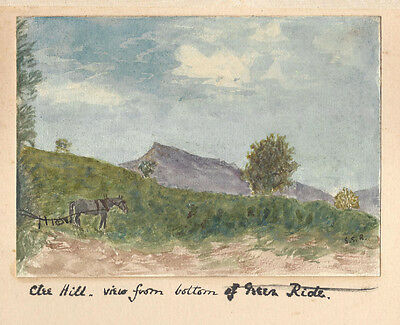 TITTERSTONE CLEE HILL & Black Mountains Shrops 2 x Watercolour Paintings c1895