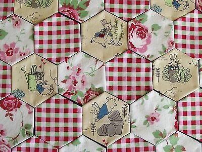 50 x Beatrix Potter, Peter Rabbit fabric Hexagons tacked to paper template set J