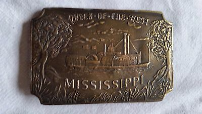 "VINTAGE BRASS BELT BUCKLE of ""QUEEN OF THE WEST, MISSISSIPPI"""