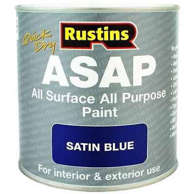 Rustins Quick Dry ASAP All Surface All Purpose Paint Satin Blue 1 Litre