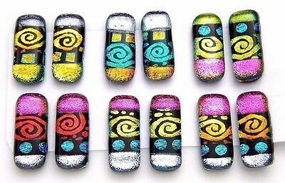 SPIRALS For dangle earrings Lot 12 pcs HANDMADE DICHROIC FUSED GLASS (C16) CAB