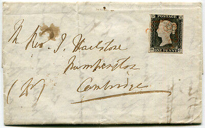 1840 Penny Black  - Plate 1a GC (worn plate) on cover to Cambridge . . .