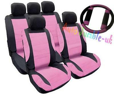 PINK car Leather look seat cover set + FREE wheel cover and seatbelt pads GIFT
