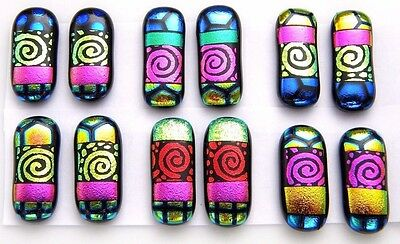 SPIRALS For dangle earrings Lot 12 pcs HANDMADE DICHROIC FUSED GLASS (D23) CAB