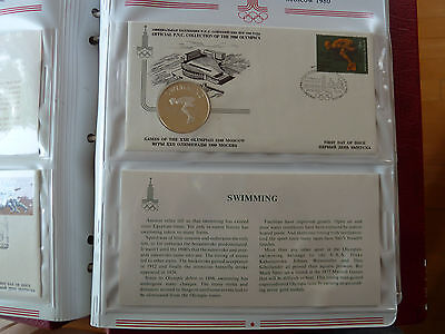 1980 Moscow SWIMMING Silver medal +FDC Stamp +descriptive sheet!!