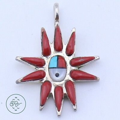 Vintage Sterling Silver | ZUNI SIGNED Sun Face Inlay Coral Rays | Pendant