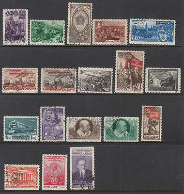 Russia 1948-50 hi val selection 18 diff used stamps cv $64.25