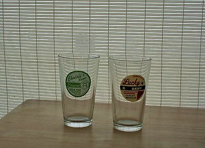 Lot Of 2 - Dairy Advertisments - Glasses - Libbey Glass - Toledo, Ohio