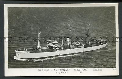 "Skyfotos Rppc ""bennevis"" Ben Line B1942 As Liberty Ship Ocean Gallant"