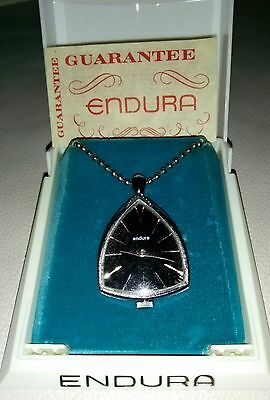 Vintage Wind Up Swiss Made Endura Necklace Pendant Watch in Original Box