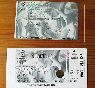 CELTIC FC  v JUVENTUS FC   CHAMPIONS LEAGUE TICKETS  2001  HOME AND AWAY