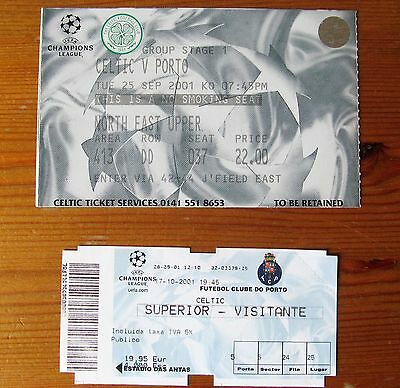 CELTIC FC  v  PORTO   CHAMPIONS LEAGUE TICKETS  2001  HOME AND AWAY