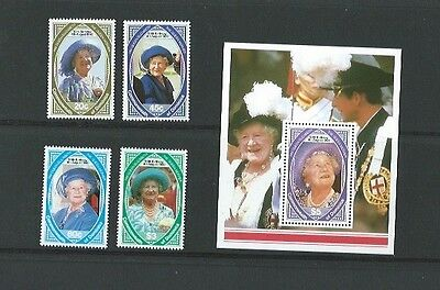 Dominica 1990 UMM 90th Birthday of Queen Mother sg 1373/6 & MS 1376