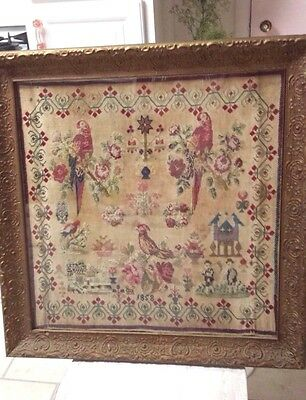 Antique Sampler 1858 Framed Antique Sampler Ornate Frame