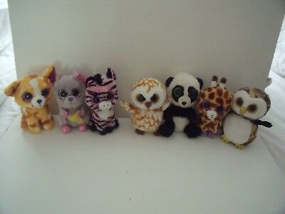 Bundle Of 3 Ty Beanie Boos  - Squeaker,  Owliver, Pablo, Owl. Mouse & Cat