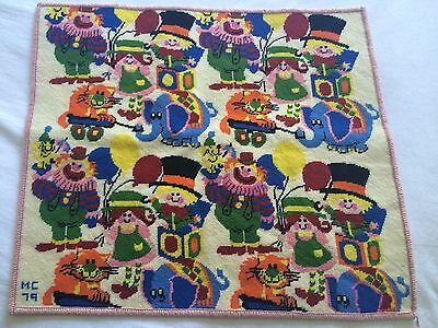 70'S AMAZING COMPLETED WALL HANGING LARGE CUSHION Tapestry CAT/CLOWNS/DOGS