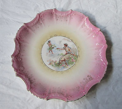 "Steubenville EMPIRE CHINA Decorative Pink 10.5"" Plate, Venus & Cupid, c. 1915"