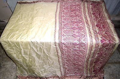 Pure silk Antique Vintage Sari INDIA CRAFT 4Y Ch16 6016 4r Cream FABRIC #AC1M6