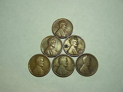 6-Lincoln Wheats 1916 1917-D 1918-D 1928 1946-S 1947-S
