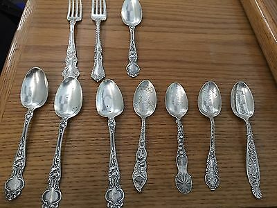 LOT 10 Vintage Sterling Silver RW&S BPOE L.D.A. Watson Spoons Forks 230g