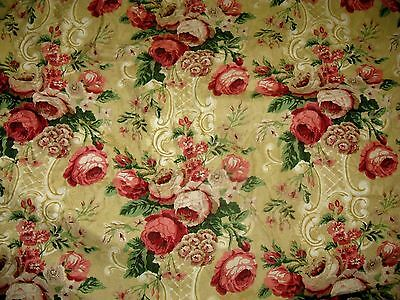 """Pair French Country Chic Cabbage Rose Linen Cotton Pleated Drapes 98"""" x 120"""""""
