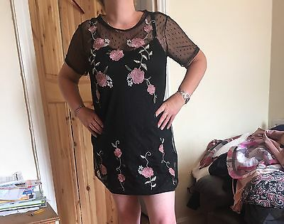 Women's Ladies Embroidered Floral Mesh Dress Size 12 Fashion