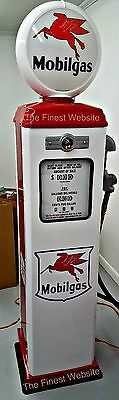 New Mobilgas  Gas Pump Reproduction Replica Retro Mobil White & Red - Free Ship*