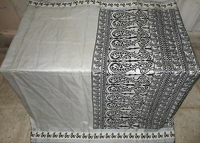 Pure silk Antique Vintage Sari INDIA CRAFT 4Y Ch16 6025 9r Grey Black #AC1UE