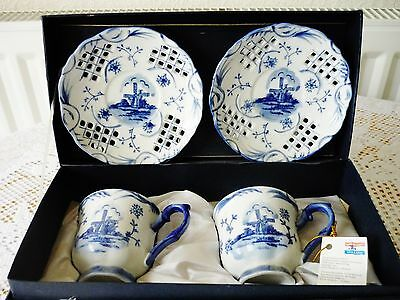 Vintage Delftware 2 X Hand Painted Cups + Saucers Royal Twickel Ter Steege Bv