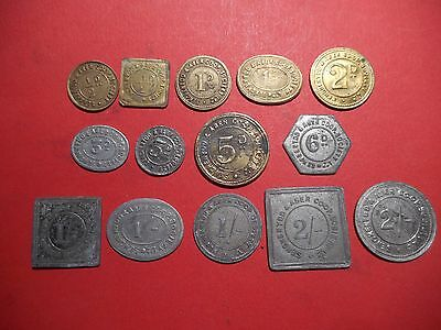 SENGHENYDD & ABER CO-OP SOCIETY S WALES 14 different brass + aluminium tokens