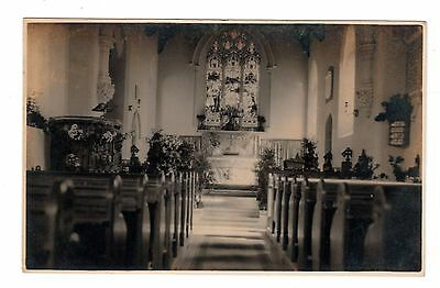 Vintage RP postcard Clapton Church interior - noted to be harvest time 1929