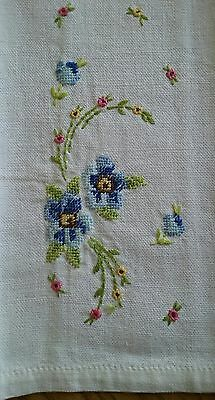 "Vintage 18"" Tea Towel ~ Hand Embroidered Petit Point Embroidery ~ Blue Floral"