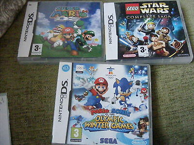 3 X EMPTY Nintendo DS CASES MARIO & SONIC OLYMPIC WINTER GAMES ,MARIO,STAR WARS