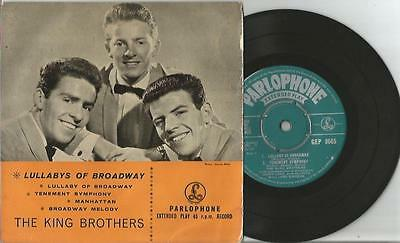"""1958 Parlophone Ep *** The King Brothers *** """"lullabys Of Broadway"""""""