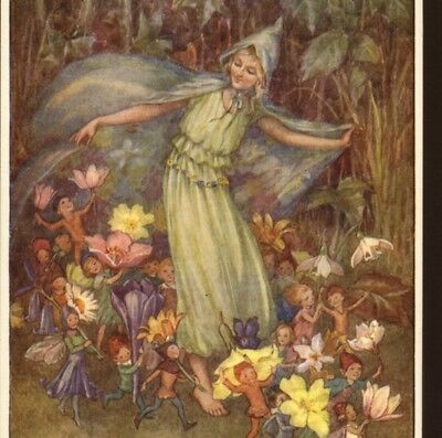 """Near Mint....""""the Fairy Troupe"""" Carry Spring Flower Blossoms,tarrant Postcard"""