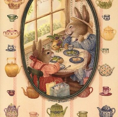 """Susan Wheeler...rabbit Tea Party,china """"lets Be Friends Forever!"""" Greeting Card"""