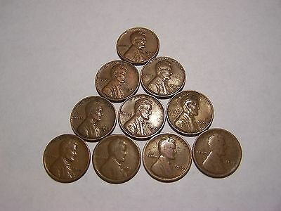 10-Lincoln Wheats 1917 1919 1920-D 1930 1940 1941-D 1942-S 1946-D 1952-S 1956-D