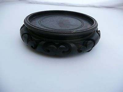 "Rare Antique Chinese Carved Wooden Vase Bowl Jade Stand Base Display 3.75"" Dia"