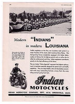 """1938 Indian Motorcycle """"Modern Louisiana' State Police Motorcycle Print Ad"""